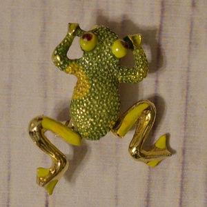 vintage green frog pin brooch rhinestone legs move